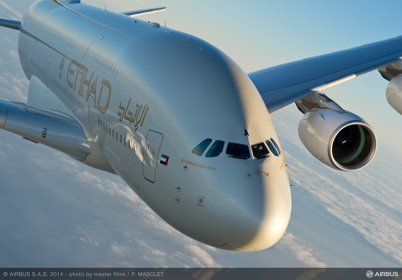 Etihad Airways' first A380 jetliner – shown here in flight – is to be deployed on the United Arab Emirates flag carrier's Abu Dhabi-London route