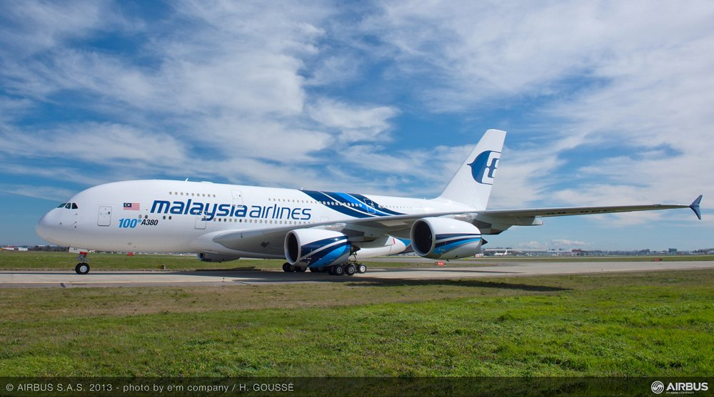 The handover of an A380 to Malaysia Airlines in March 2013 marked the 100th delivery of Airbus' 21st century flagship jetliner to international operators.