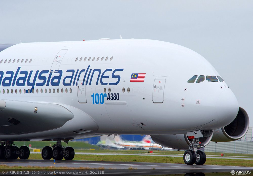 On-ground photo of the 100th A380 aircraft produced by Airbus, delivered to Malaysia Airlines.