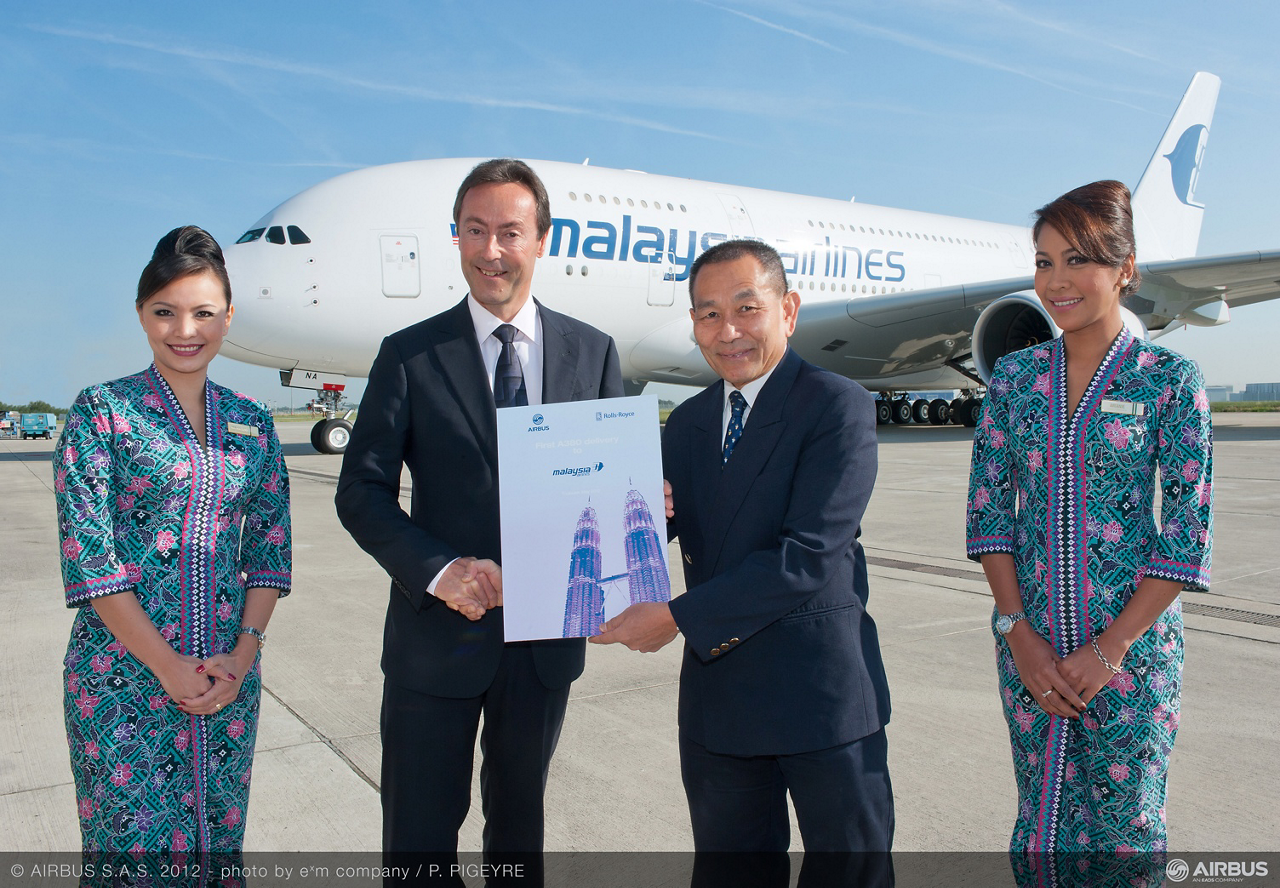 Malaysia Airlines became the eighth carrier to receive Airbus' 21st century flagship A380 with delivery of its no. 1 jetliner, which was handed over to MAS Group Chief Executive Officer Ahmad Jauhari Yahya by Airbus Chief Operating Officer Fabrice Brégier in Toulouse, France