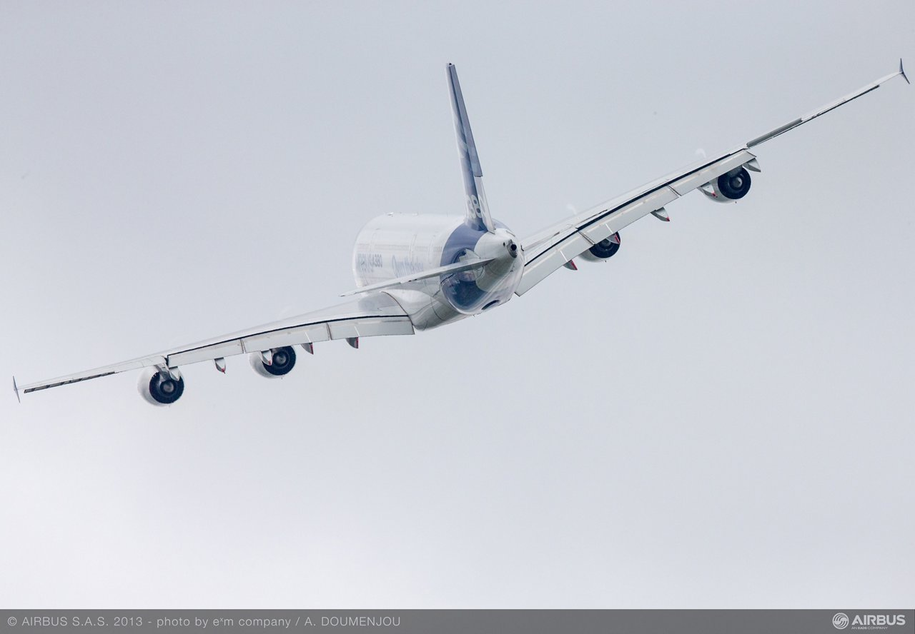A380 flight presentation during Day 5 of the 2013 Paris Air Show