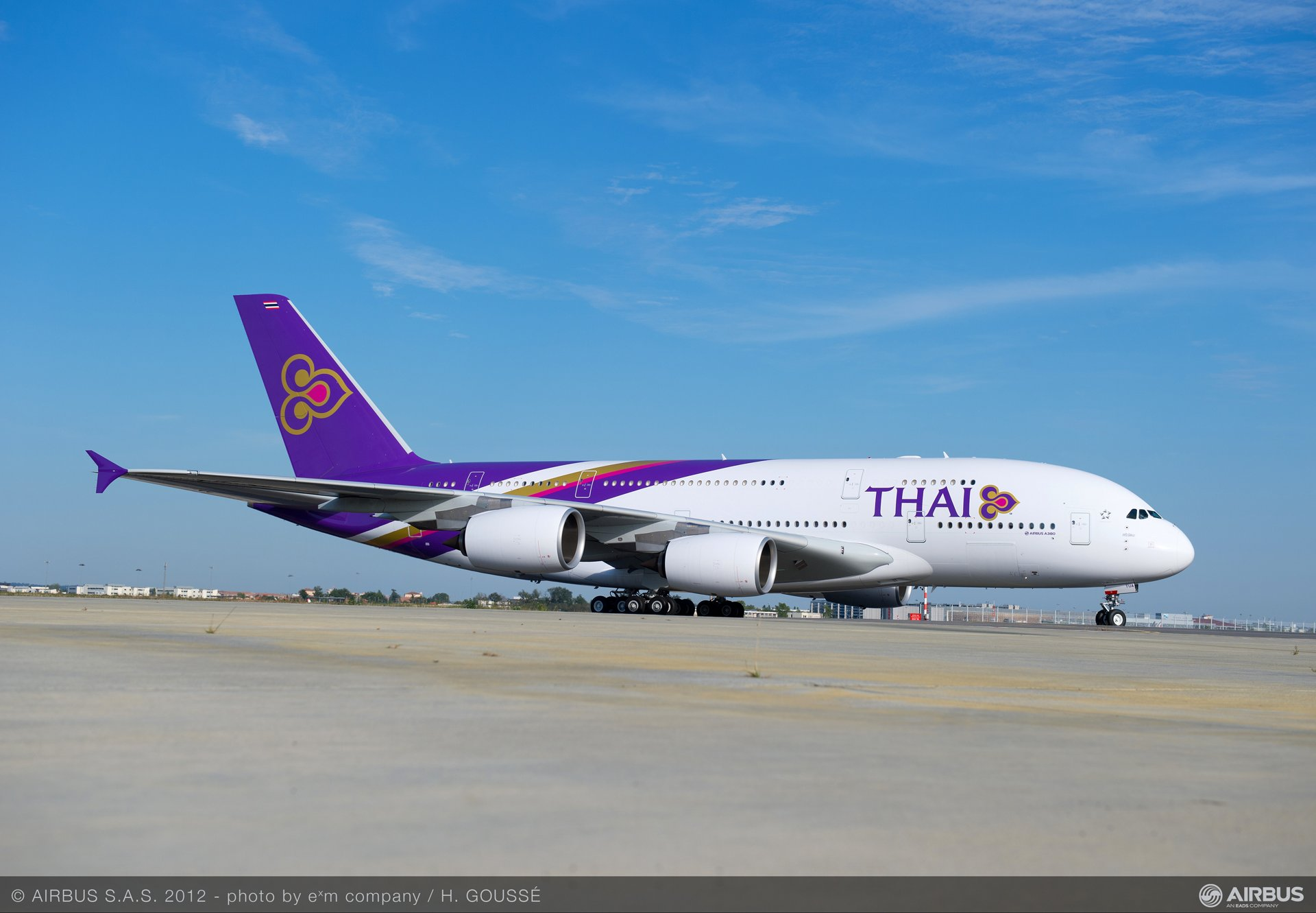 THAI first A380 is shown at Toulouse, Blagnac Airport in France, which is home to the jetliner's final assembly line.