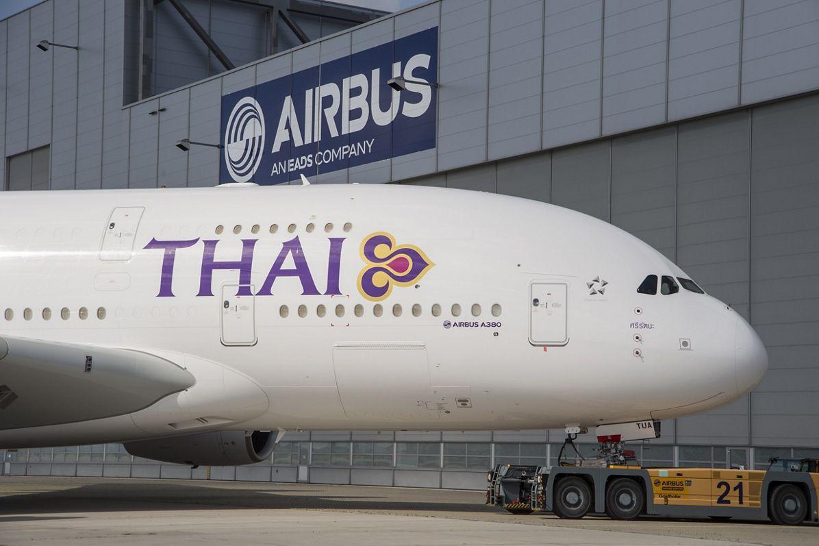 A380 THAI close up