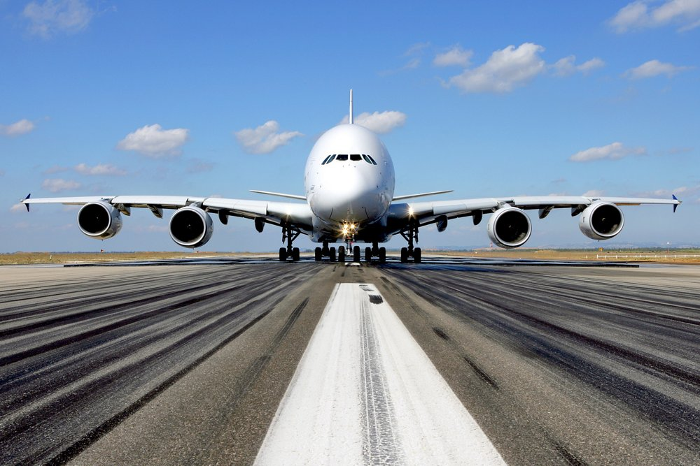A full, front-facing view of Airbus' widebody A380 on the ground