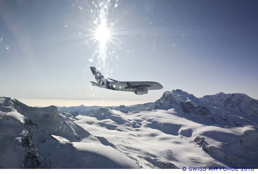 A380 over the alps