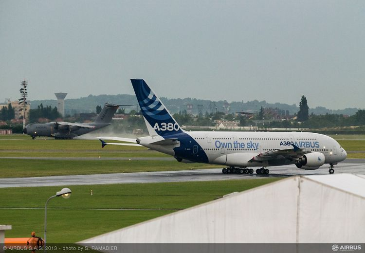 Airbus aircraft arrival at the show