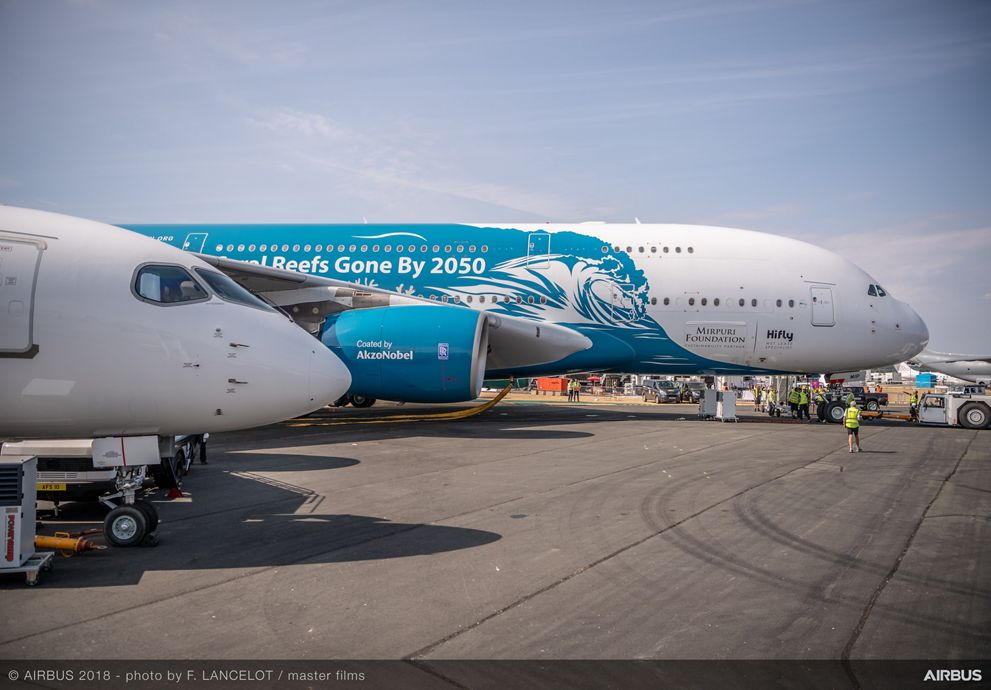 Hi Fly A380 static display – Farnborough 1