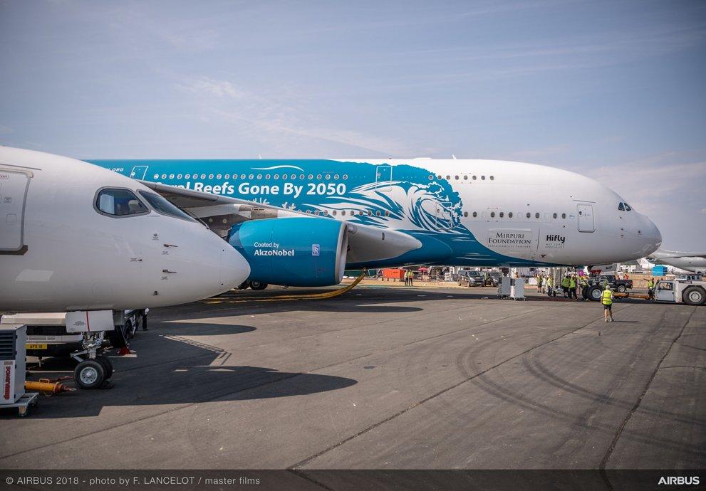 Hi Fly A380 static display – Farnborough 1