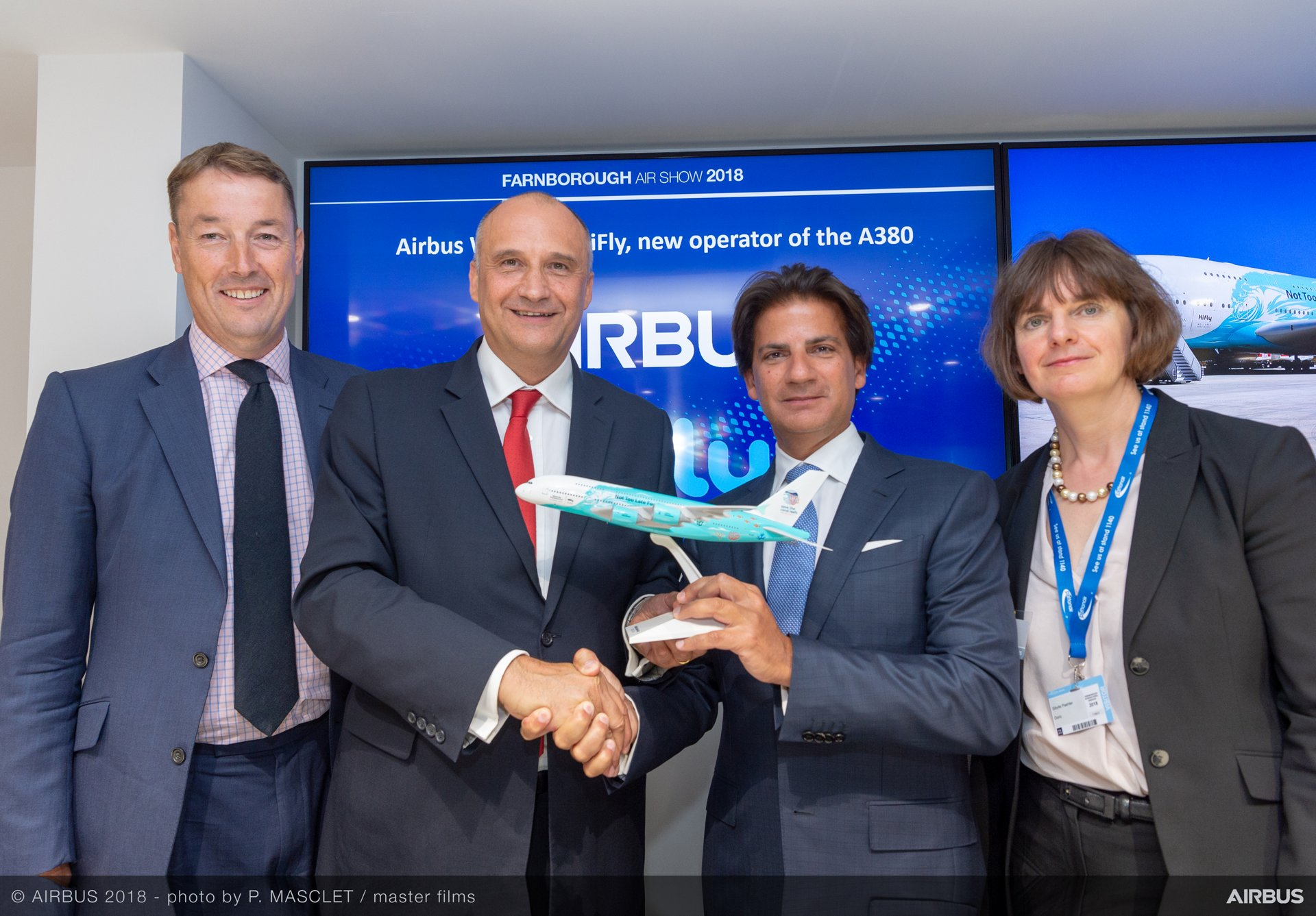 "Portugal-based Hi Fly made history in becoming the first company to receive a second-hand A380, which it will offer to operators on 'wet lease;"" marking the announcement at the 2018 Farnborough Airshow are (from left to right): Rolls-Royce SVP-Customer Business Simon Goodson; Airbus Chief Commercial Officer Eric Schulz; Hi Fly President and CEO Paulo Mirpuri and Sibylle Pähler, Managing Director at Doric GmbH"