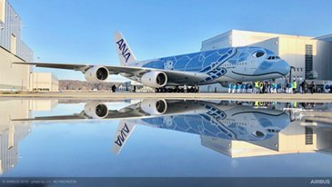 First A380 ANA Rolls Out Of Paintshop 2