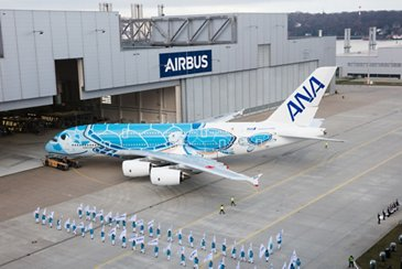 First ANA A380 paint shop roll-out