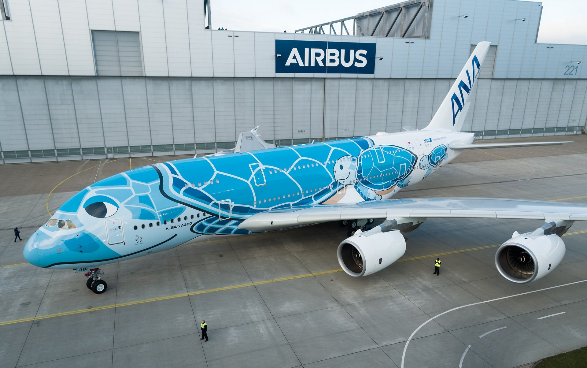 The first A380 for Japan's All Nippon Airways (ANA) seen after the roll-out from the Airbus paint shop in Hamburg, Germany