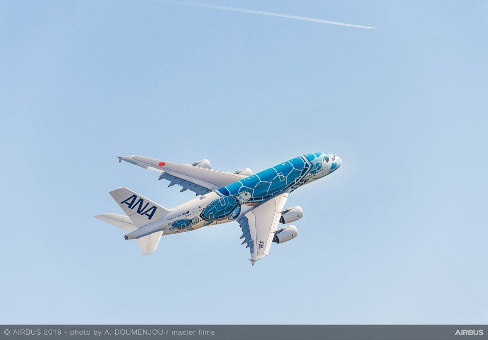 The first A380 commercial aircraft delivered to Japan's All Nippon Airways, shown during flight, has a special livery depicting the Hawaiian Green Sea Turtle – underscoring its use on the route linking Tokyo and Honolulu.
