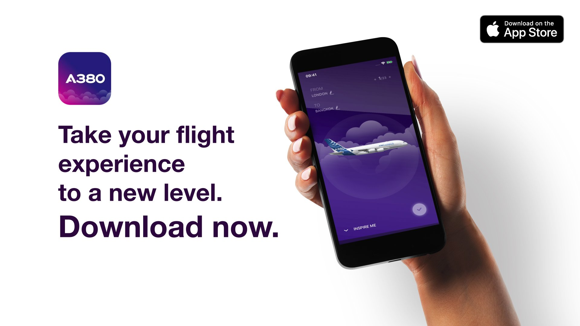 With the iflyA380 app, world travellers can book a flight aboard Airbus' flagship A380 jetliner and interact with the aircraft in amazing augmented reality once en route to world-class destinations