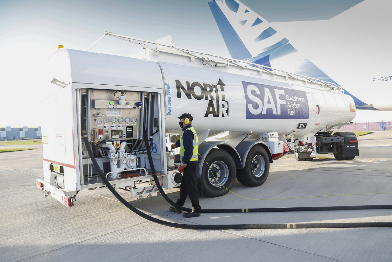 Airbus has taken the next step in reducing its industrial carbon footprint with the maiden flight of a Beluga super-transporter using sustainable aviation fuel (SAF) from the aerospace company's Broughton plant in the UK.