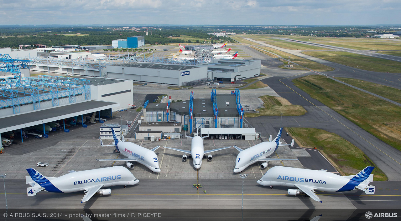 Airbus operates a fleet of five Beluga cargo airlifters, which together perform more than sixty flights each week to transport components for the company's jetliners between 11 sites in Europe
