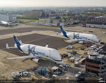 Airbus' first two BelugaXL airlifters