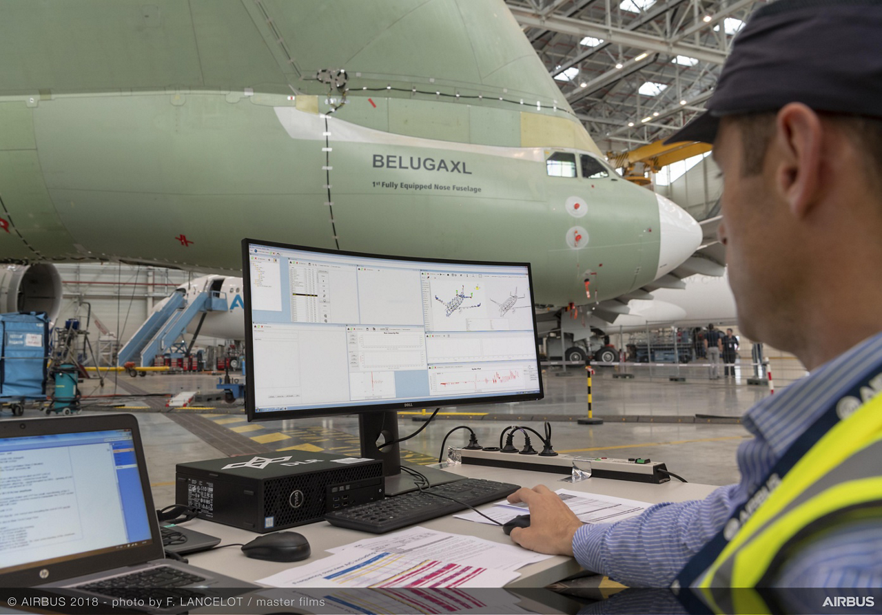The objective of ground vibration testing is to measure the dynamic behaviour of the aircraft and confirm theoretical models of various flight conditions