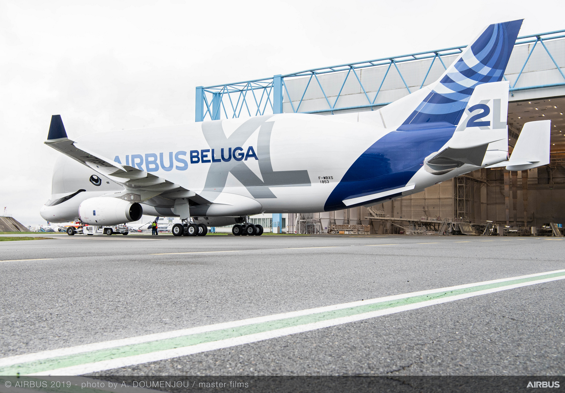 The blue-and-white livery for Airbus' second BelugaXL cargo airlifter was applied during activity at the company's Toulouse, France paint shop
