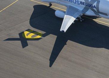 BelugaXL on runway