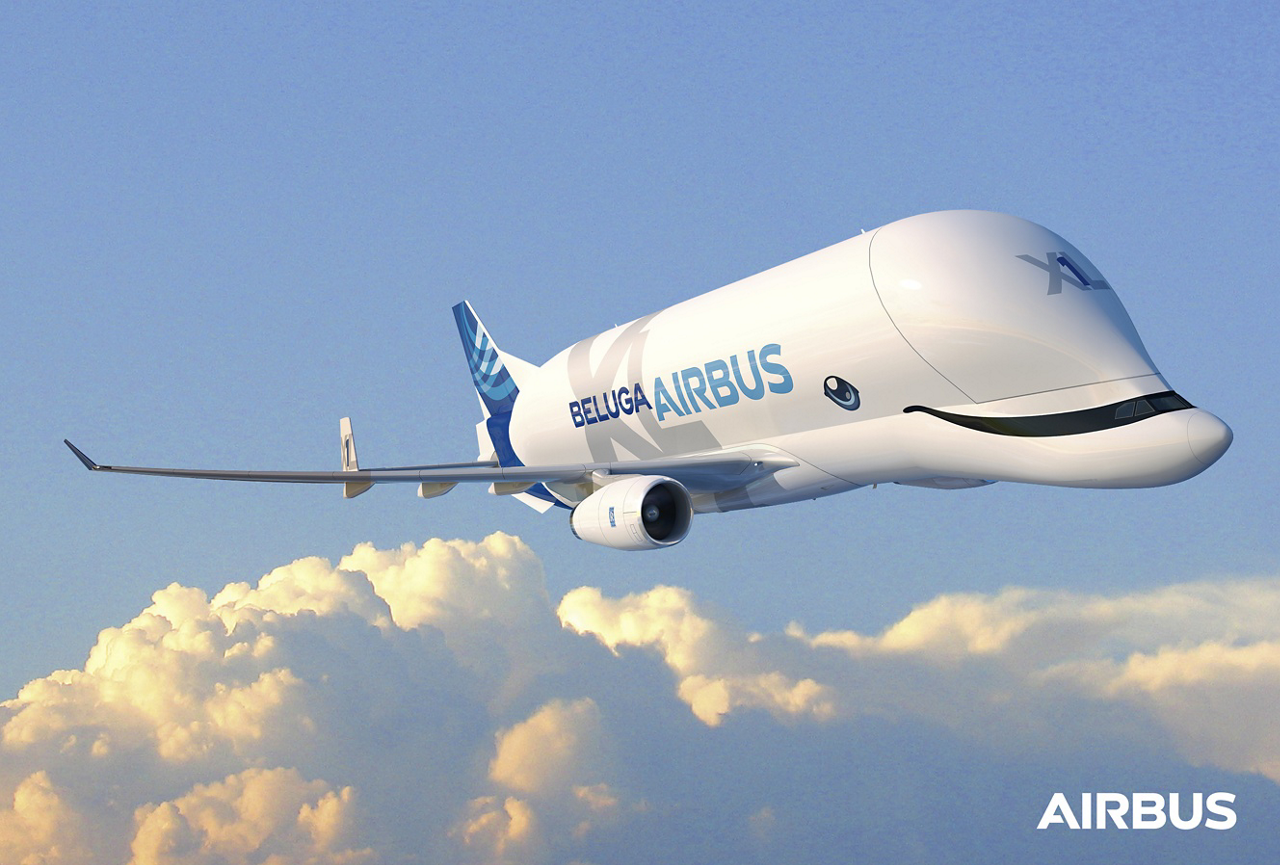 The BelugaXL's special livery design – including beluga whale-inspired eyes and a happy grin – was voted on by Airbus employees