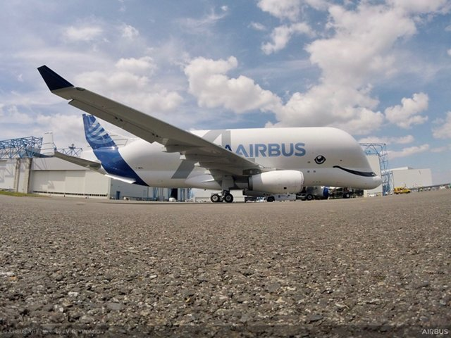 The no. 1 BelugaXL oversize cargo airlifter received its distinctive livery at the Airbus paint shop in Toulouse, France