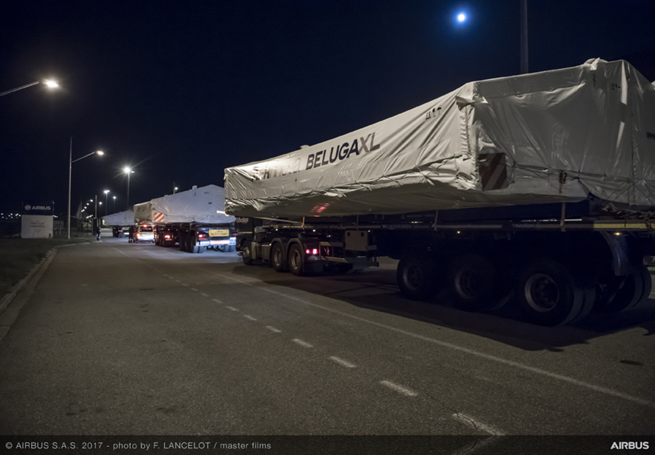 The first large sections of Airbus' next-generation transport aircraft – the BelugaXL – are transported to the final assembly facility in Toulouse, France