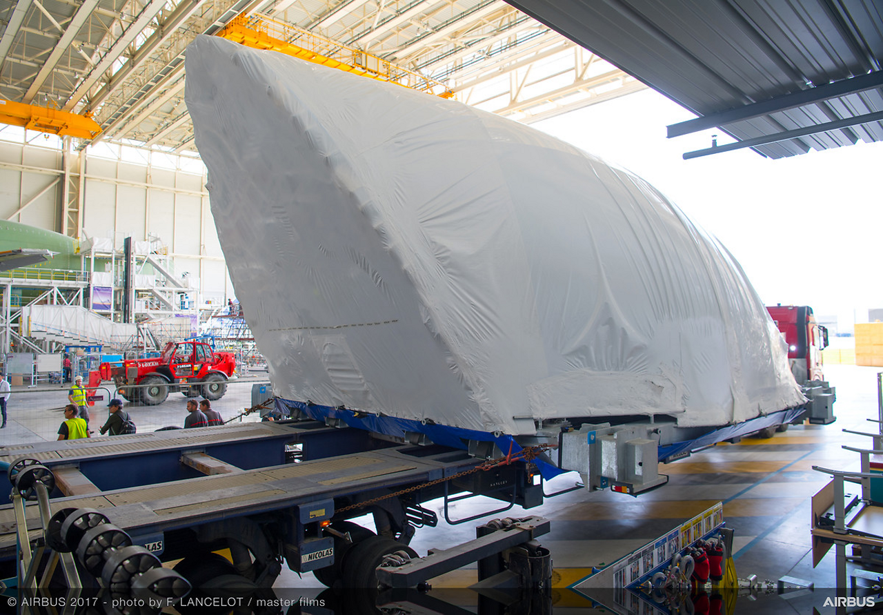 Delivery of the front main deck cargo door will enable its integration on the no. 1 BelugaXL super transporter aircraft, which is being assembled at Toulouse-Blagnac in southwestern France.