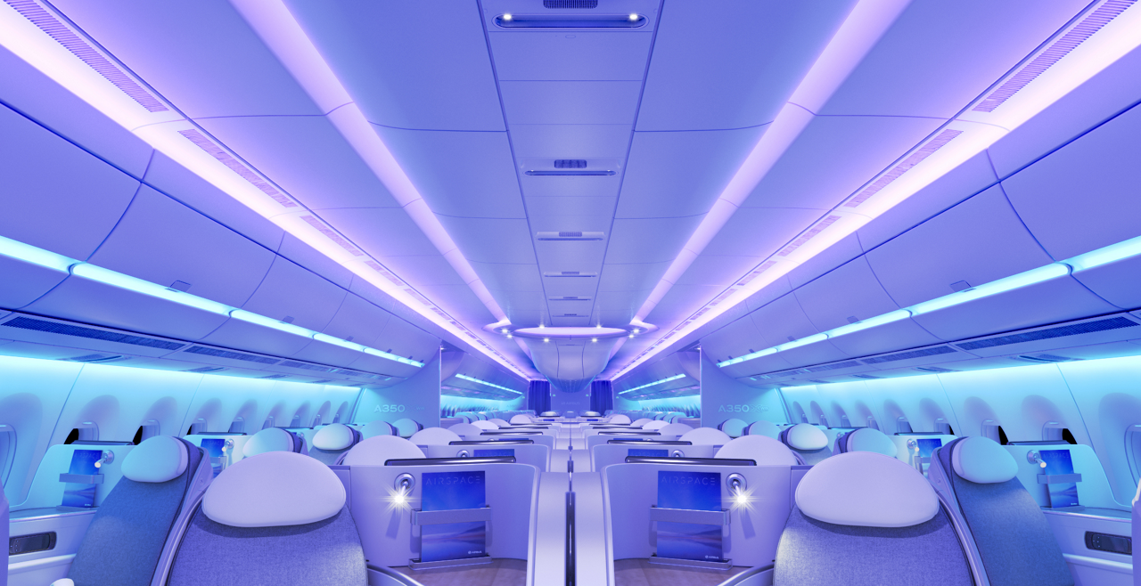 A view inside an A350 XWB outfitted with the Airspace cabin