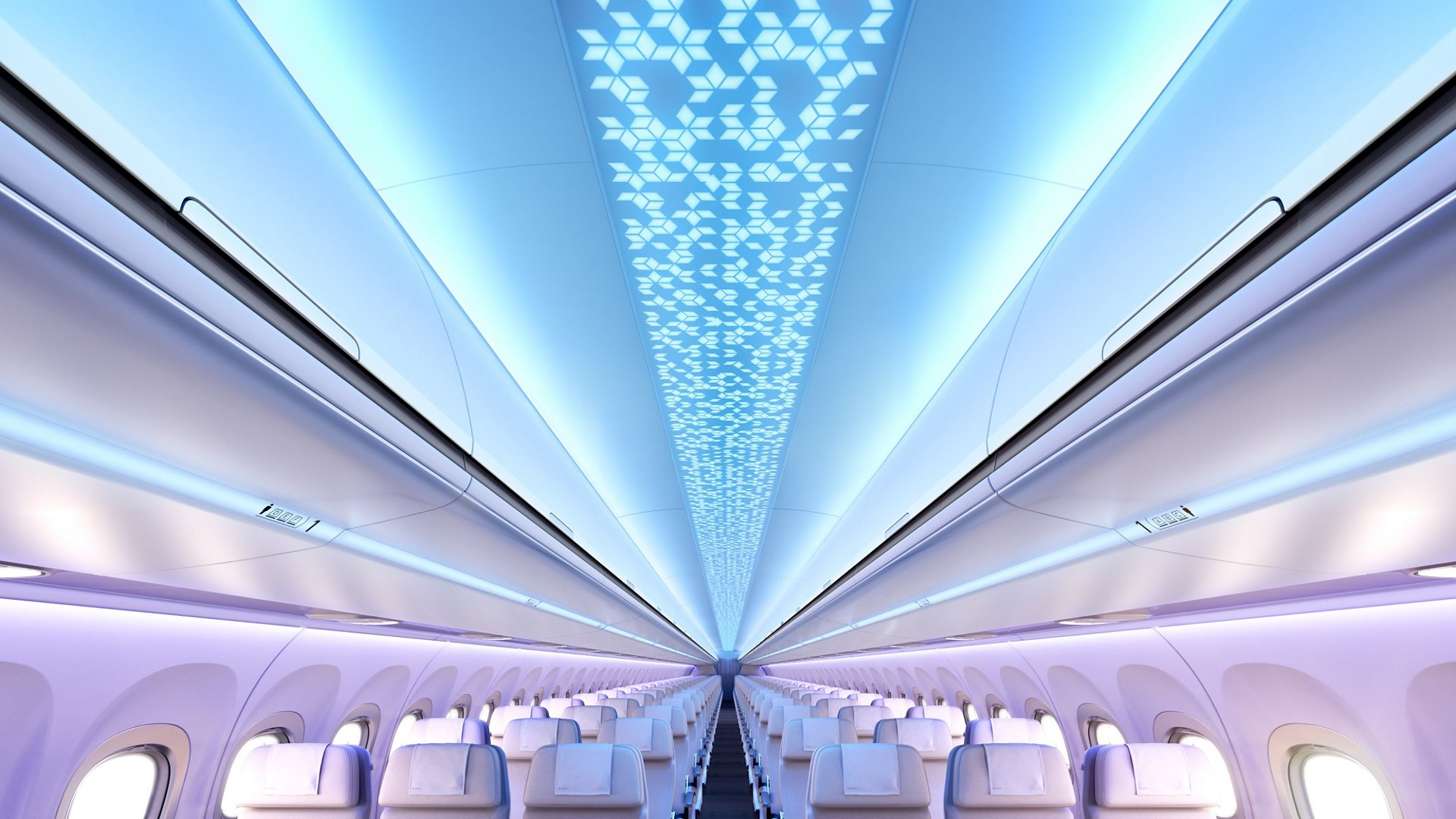 Ceiling panels with customisable patterns, in combination with full-colour LED lighting, create a warm welcome area for Airspace cabins