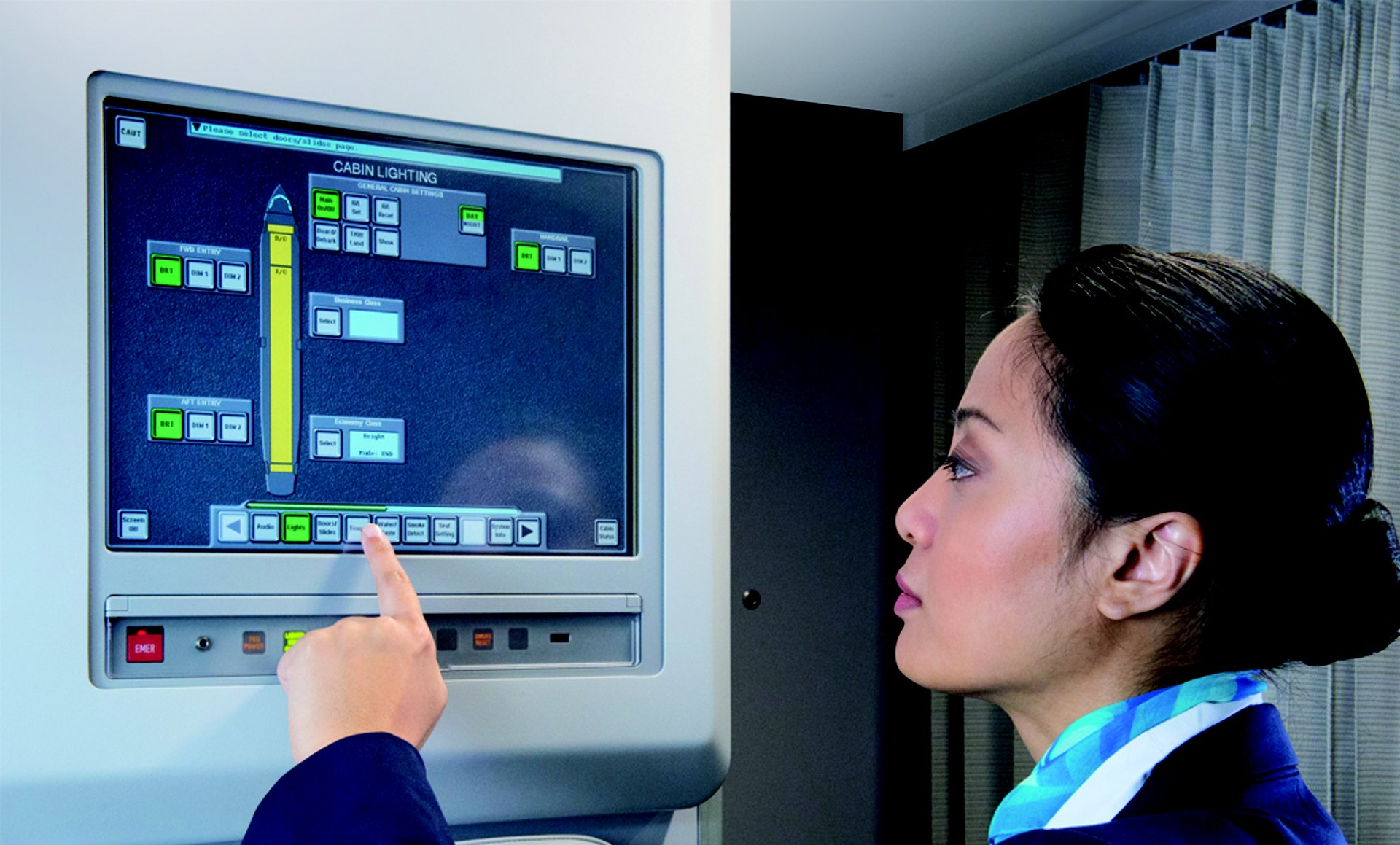 Cabin crew benefit from the efficiency and accessibility provided by CIDS, which enables them to monitor and control the system via several touch screen interfaces in the cabin