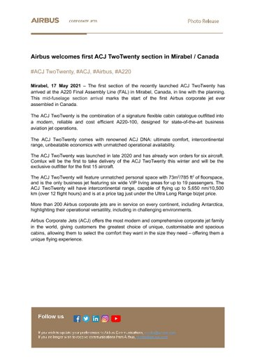 First ACJ TwoTwenty section to arrive at Airbus Canada FAL