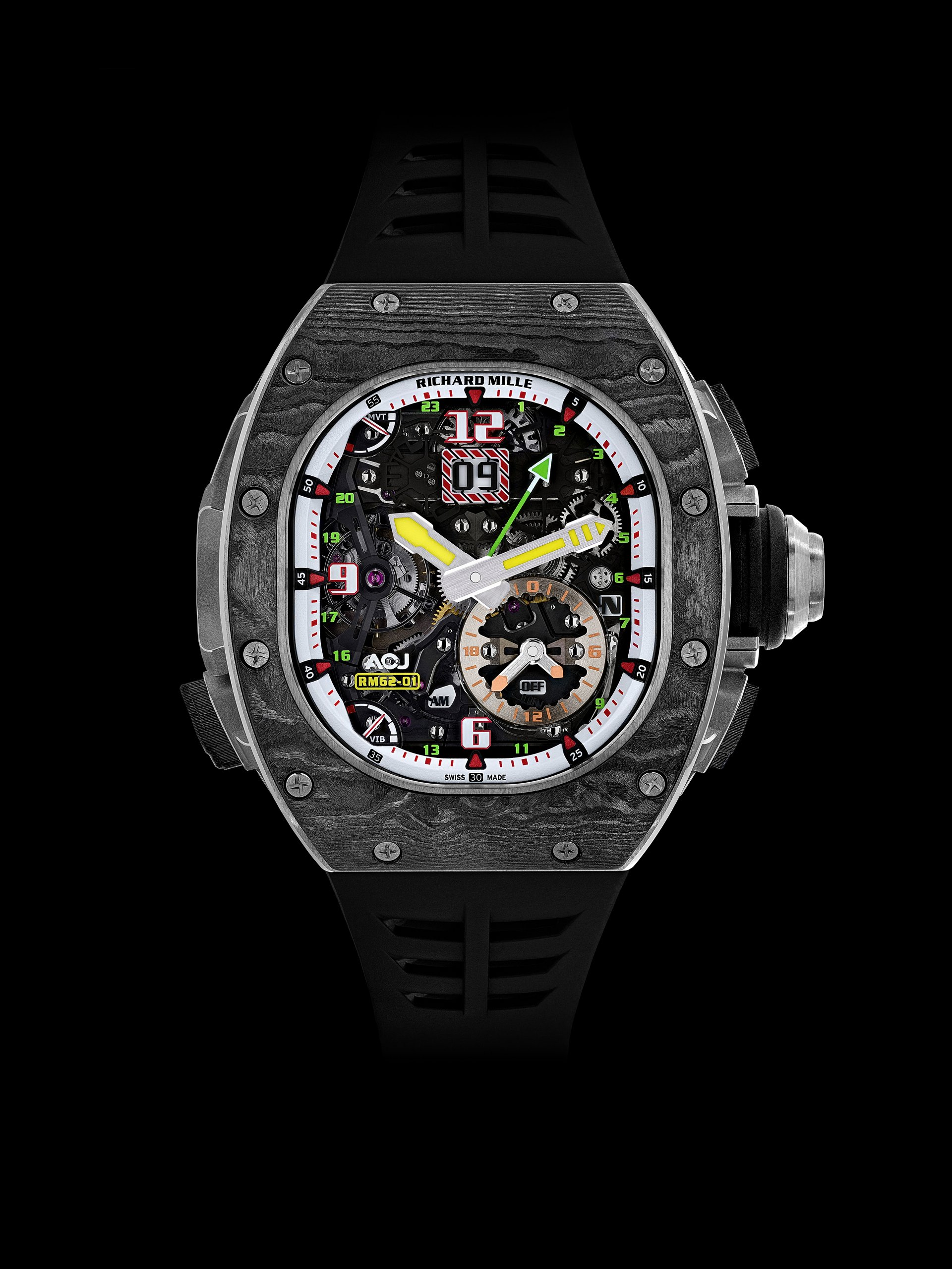 The RM 62-01 Tourbillon Vibrating Alarm ACJ travel watch, launched by Airbus Corporate Jets (ACJ) and Richard Mille, encapsulates the pioneering, proven and industry-leading expertise from the two companies