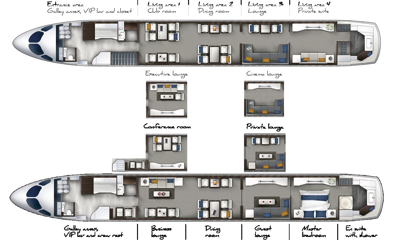 ACJ TwoTwenty - Cabin floor plan