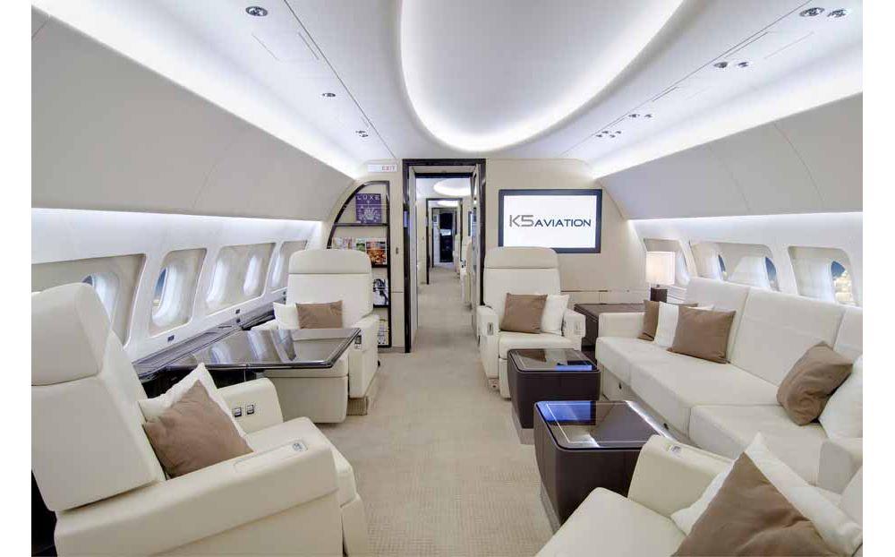 K5 Aviation Airbus ACJ319 main cabin