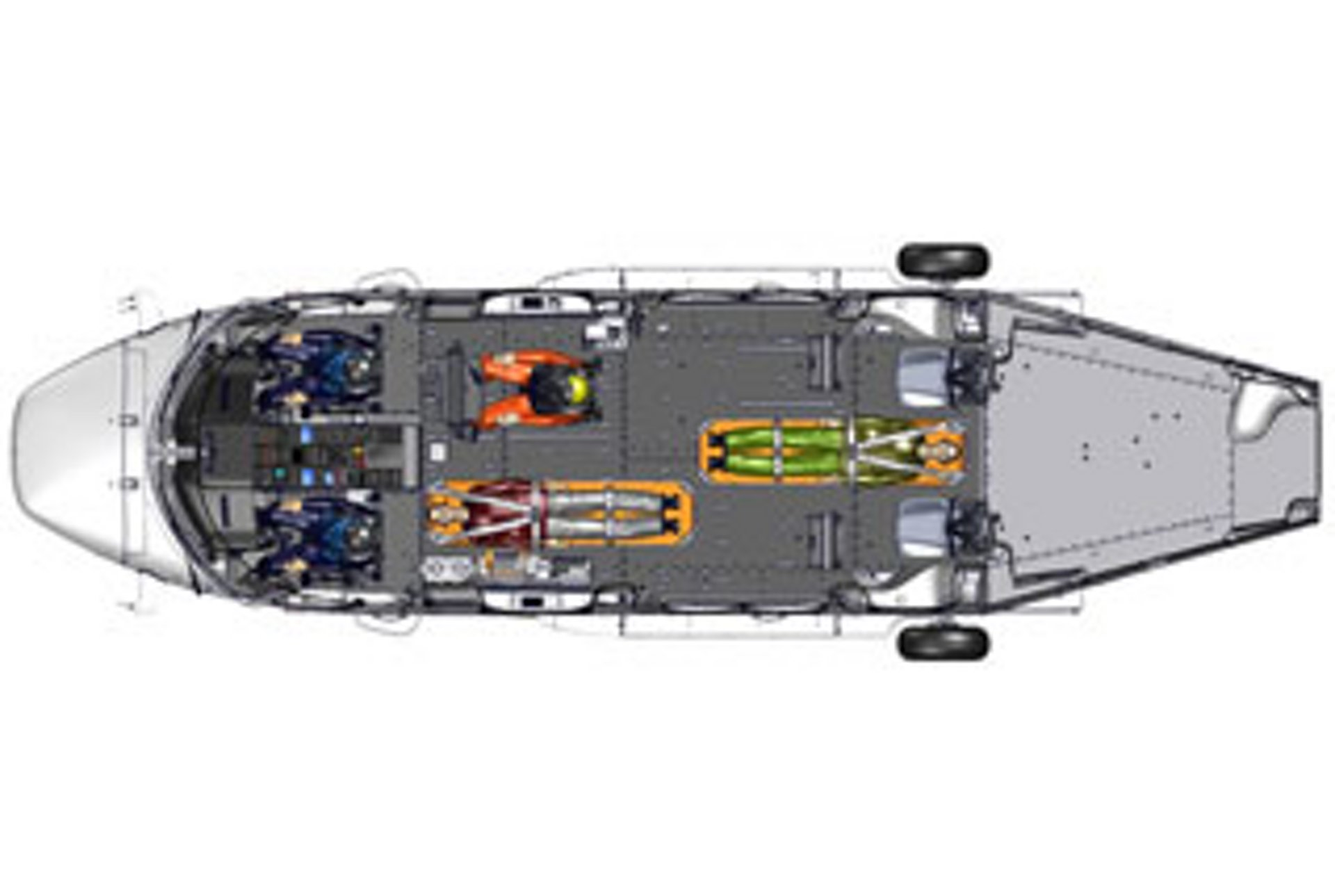 Diagram of an Airbus H175 helicopter cabin optimised for search and rescue operations.