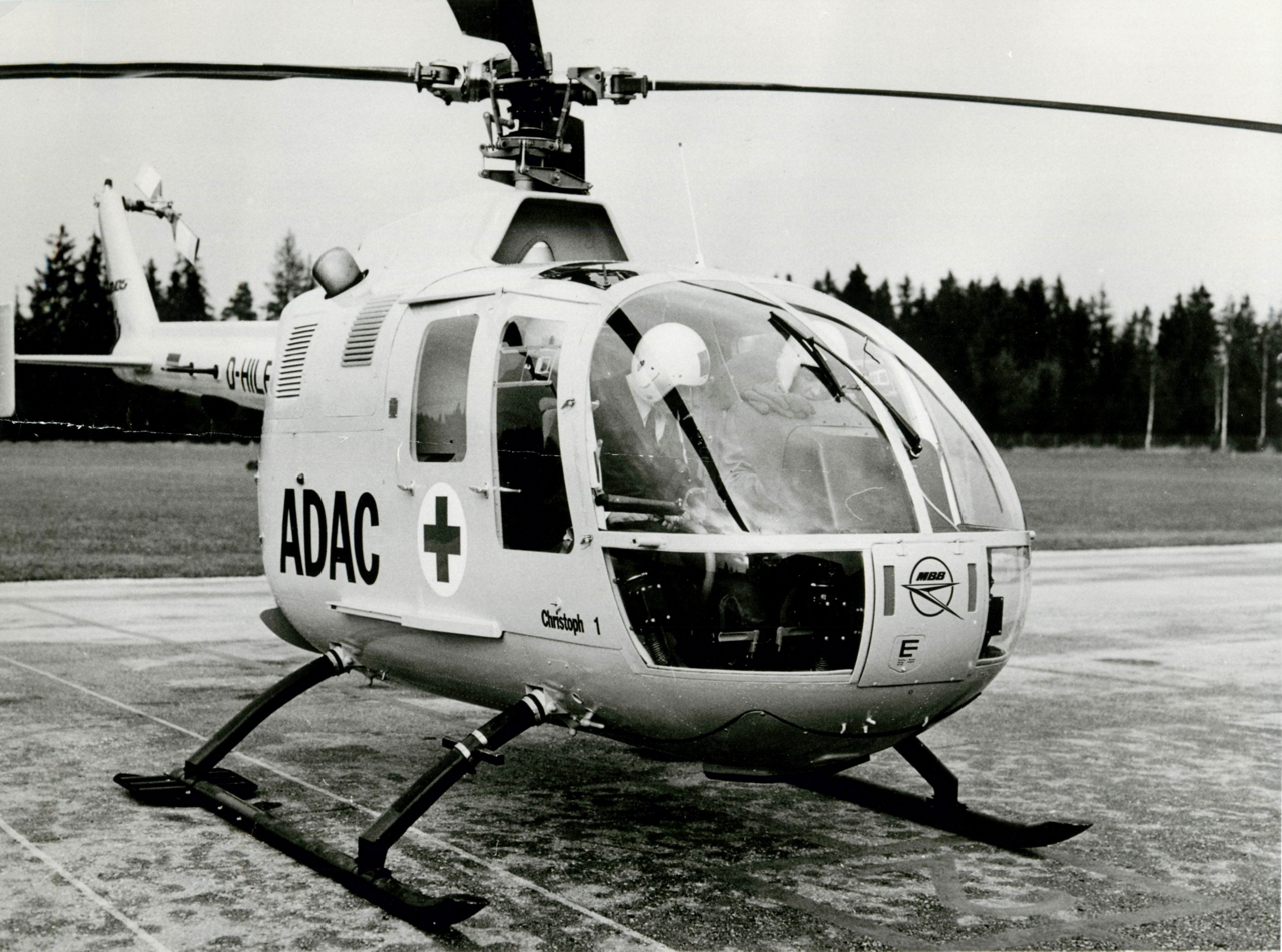 A parked Bo 105 helicopter operated by Germany's ADAC air rescue service.