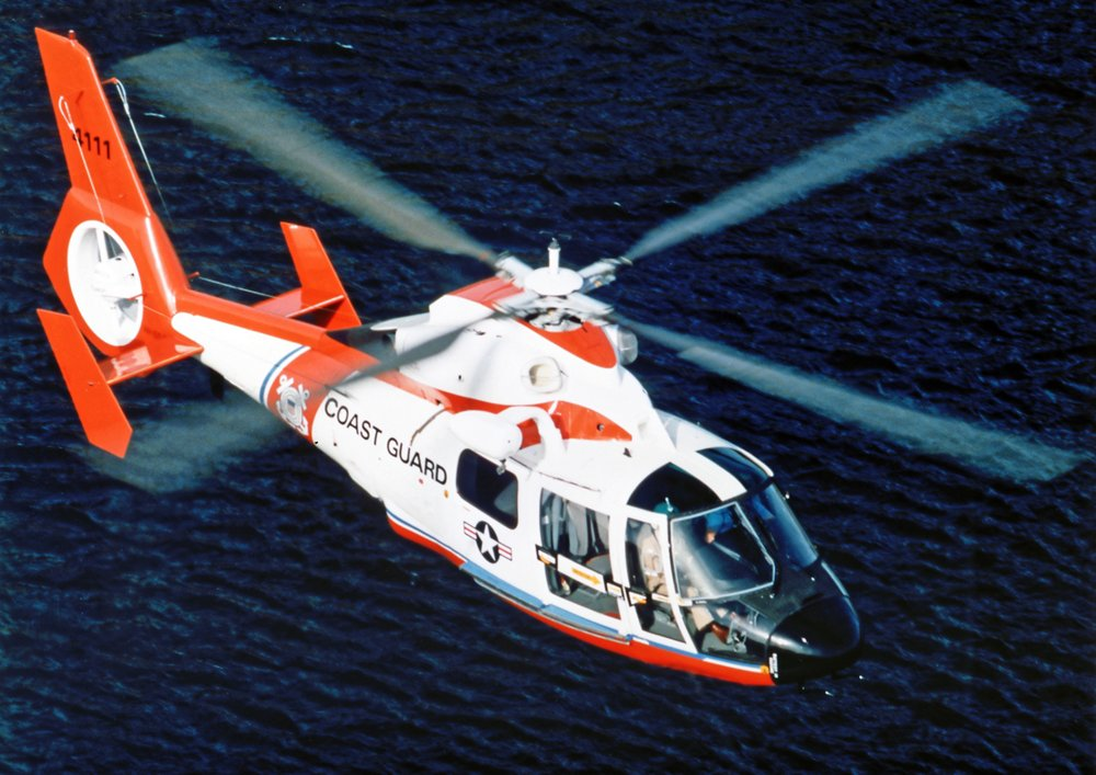 An Airbus-built HH-65 Dauphin helicopter delivered to the U.S. Coast Guard is shown in flight.