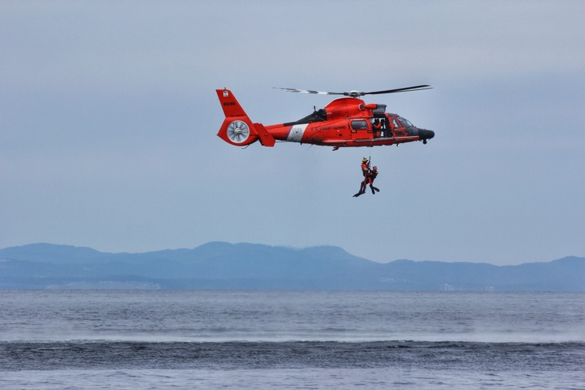US Coast Guard MH65 Conducting Search & Rescue Training