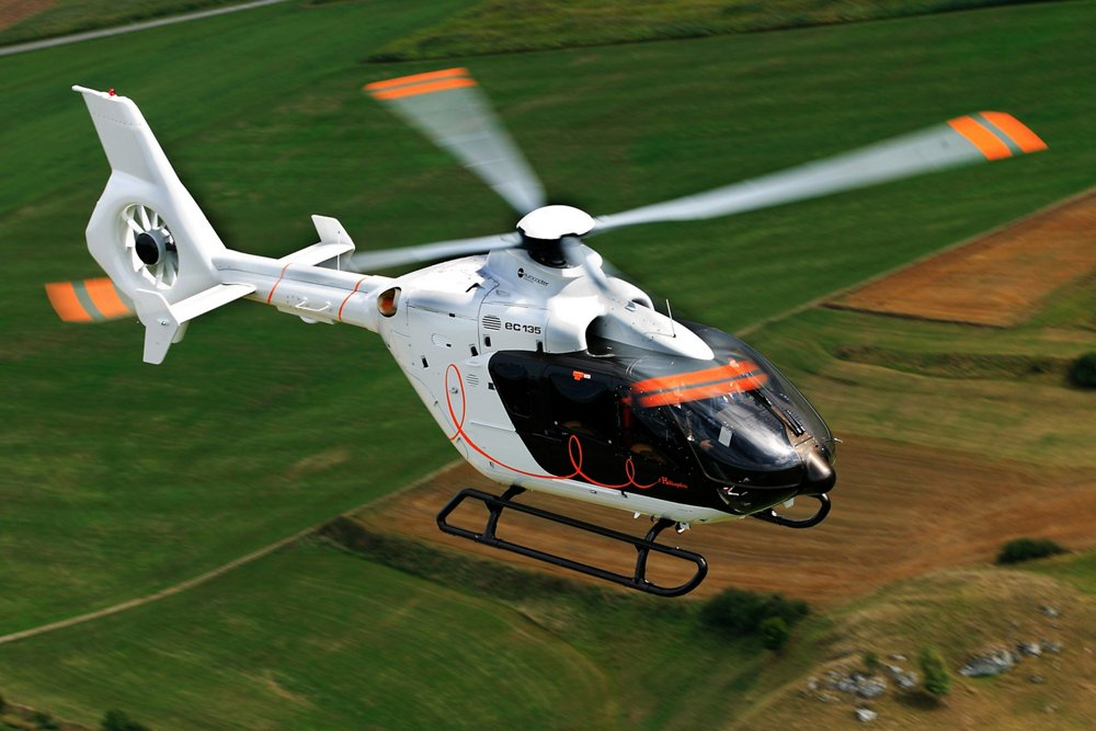 "Airbus' H135 ""Helicopter by Hermès"" version, which was unveiled at the NBAA 2007 trade show, is shown in flight."