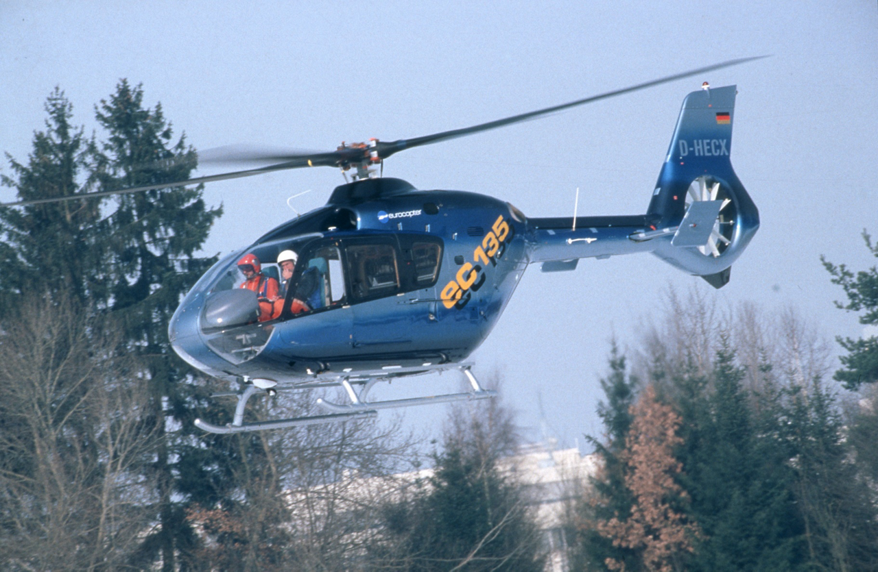 The first helicopter in the Eurocopter product line, and successor to the BO108, is shown during its maiden flight in 1994.