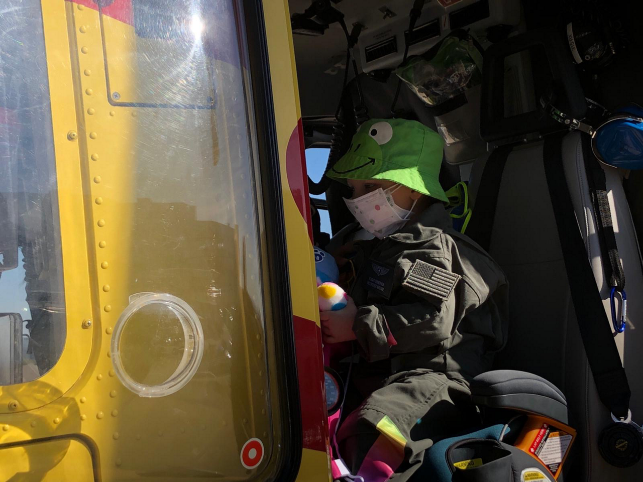 Bodhi is shown inside the Methodist AirCare EC135.