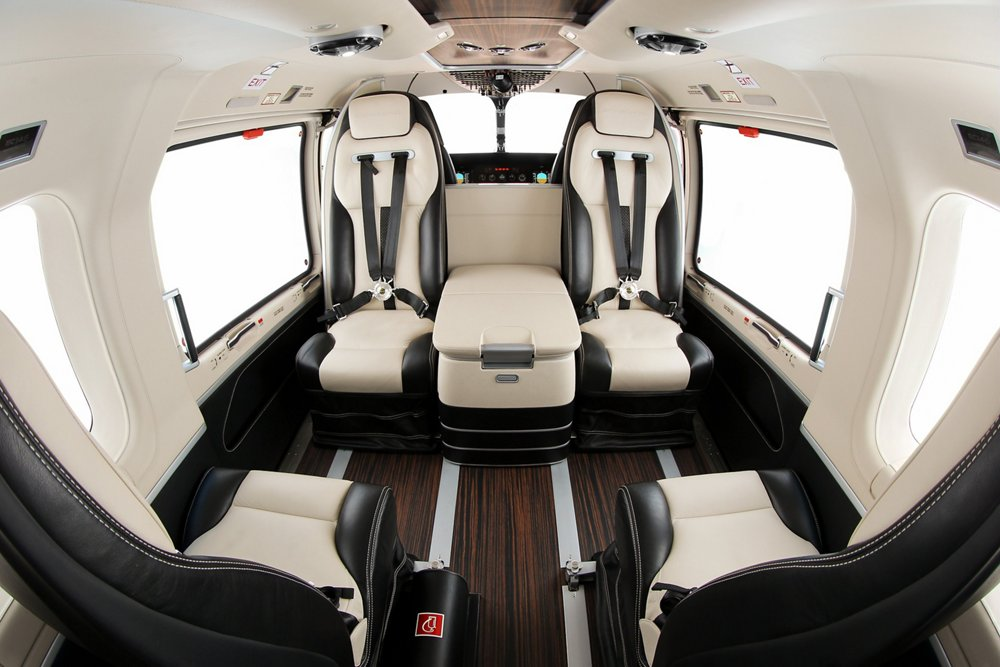"A view of the EC145/H145 helicopter's ""Mercedes-Benz Style"" cabin interior, which Airbus unveiled in 2010."