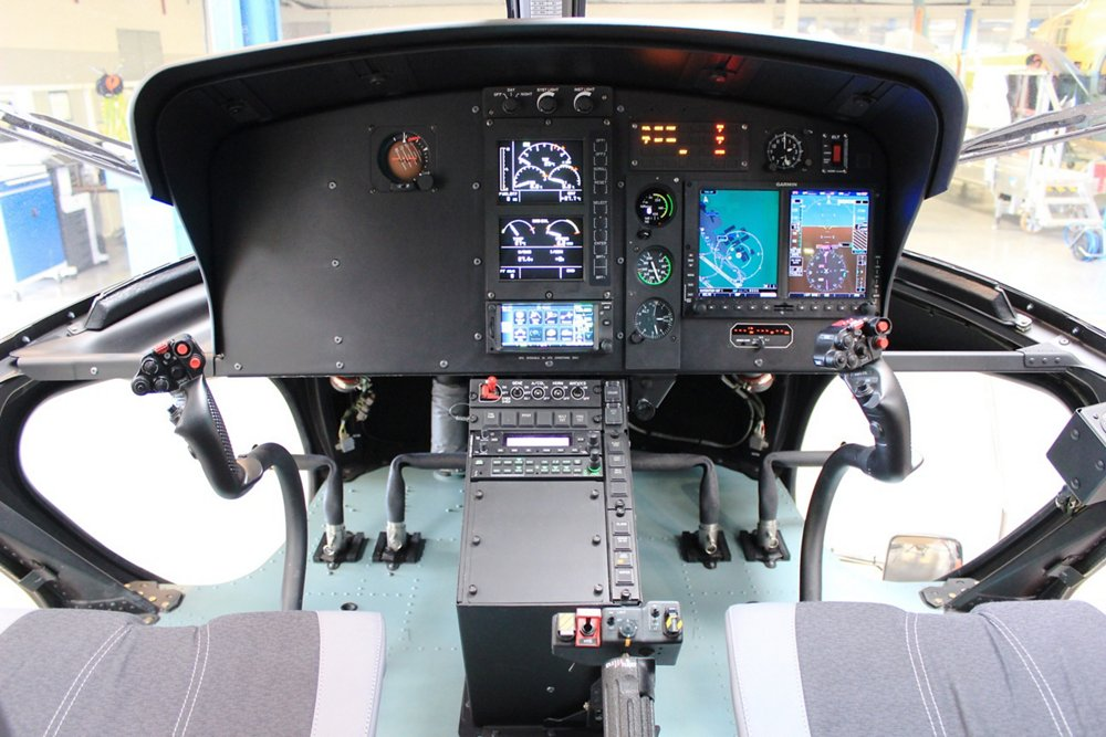 A close-up view of the H125 helicopter's glass touchscreen cockpit instrument panel