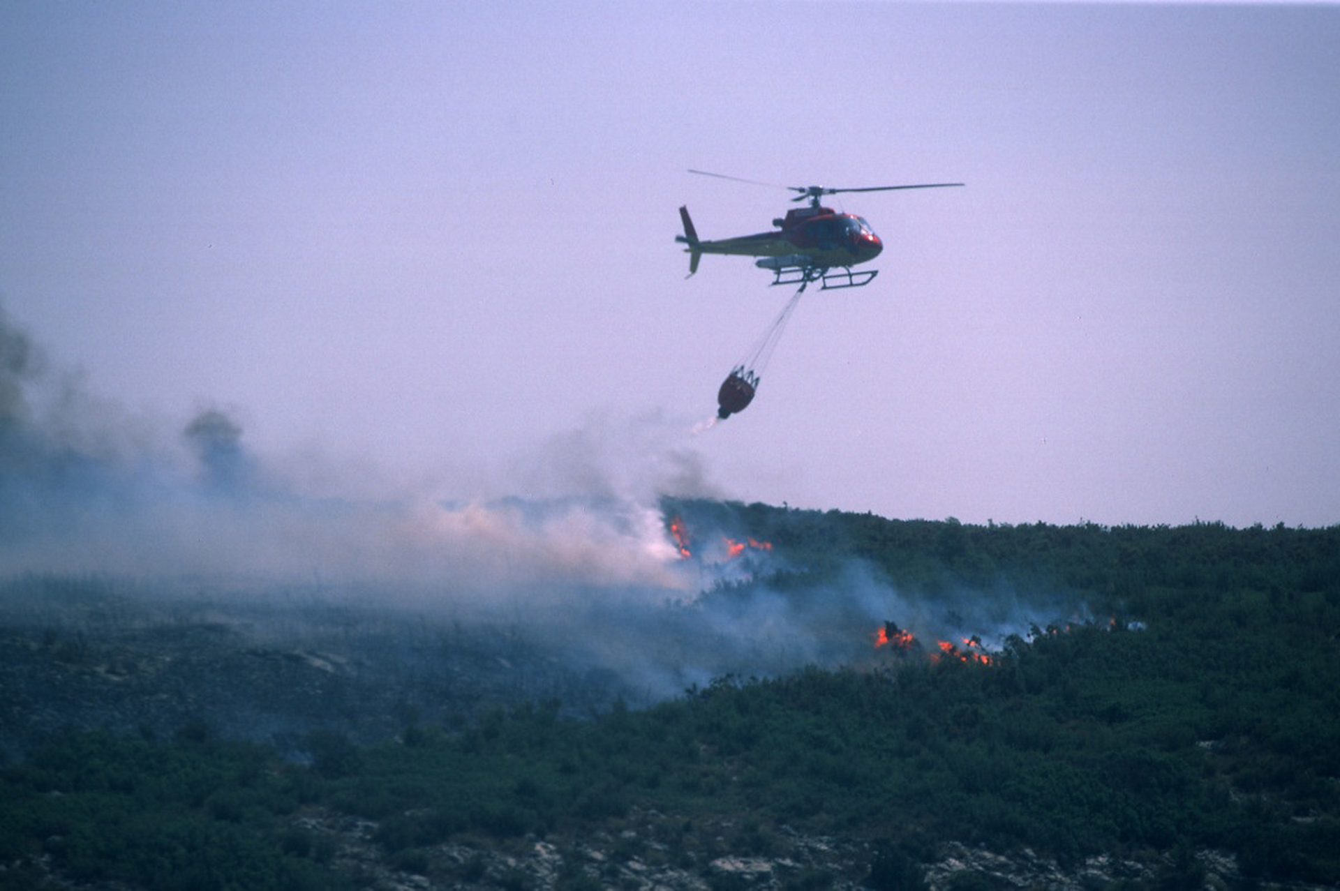 A helicopter fights a wildfire with deployment of a bucket-type water dispersal system.