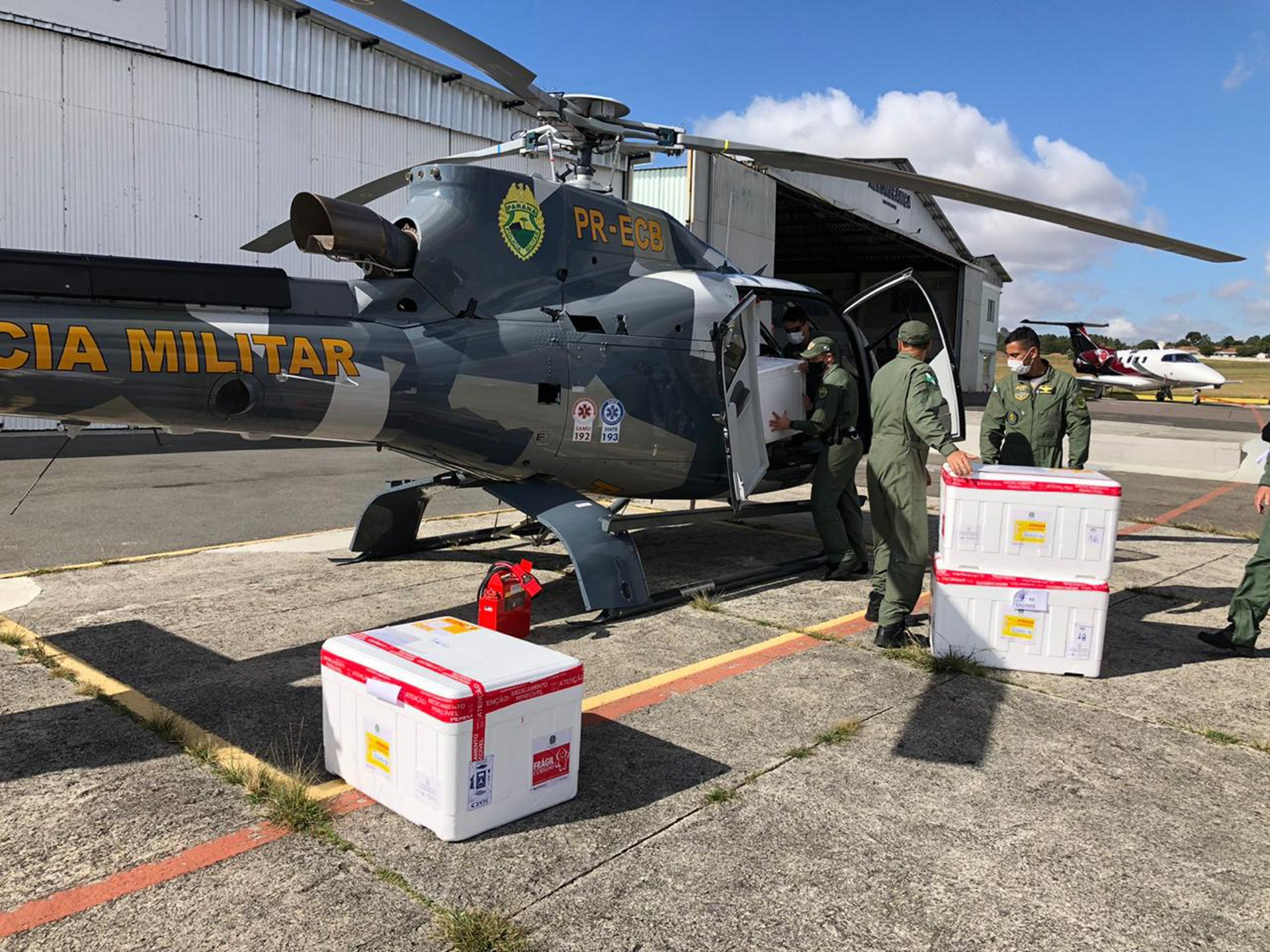 The Air Operations Battalion of the State Military police BPMOA  adopted new protocols to protect the crews during the pandemic aboard their fleet of H130s, locally known as Falcões.