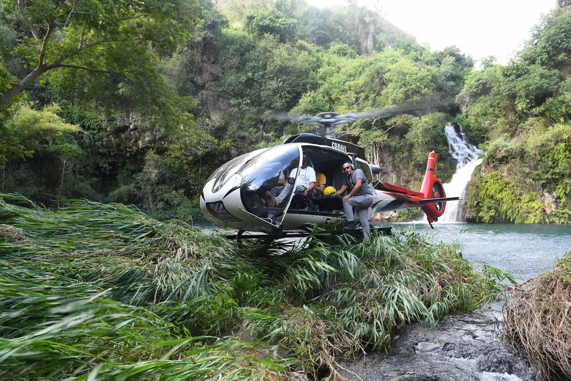 An Airbus H130 delivered to Corail Hélicoptères touches down in a jungle area.