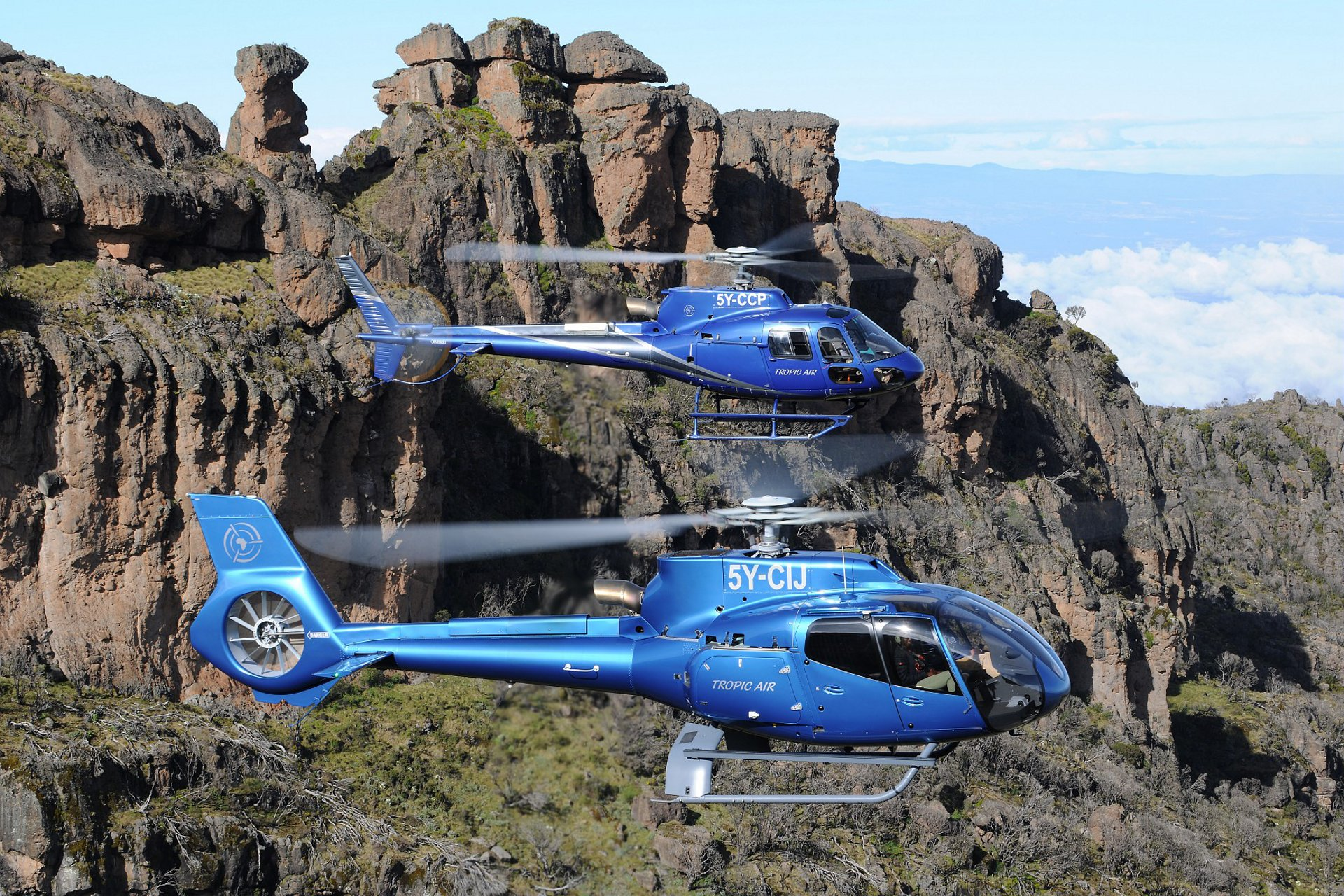 The H125 and H130 on Mount Kenya.