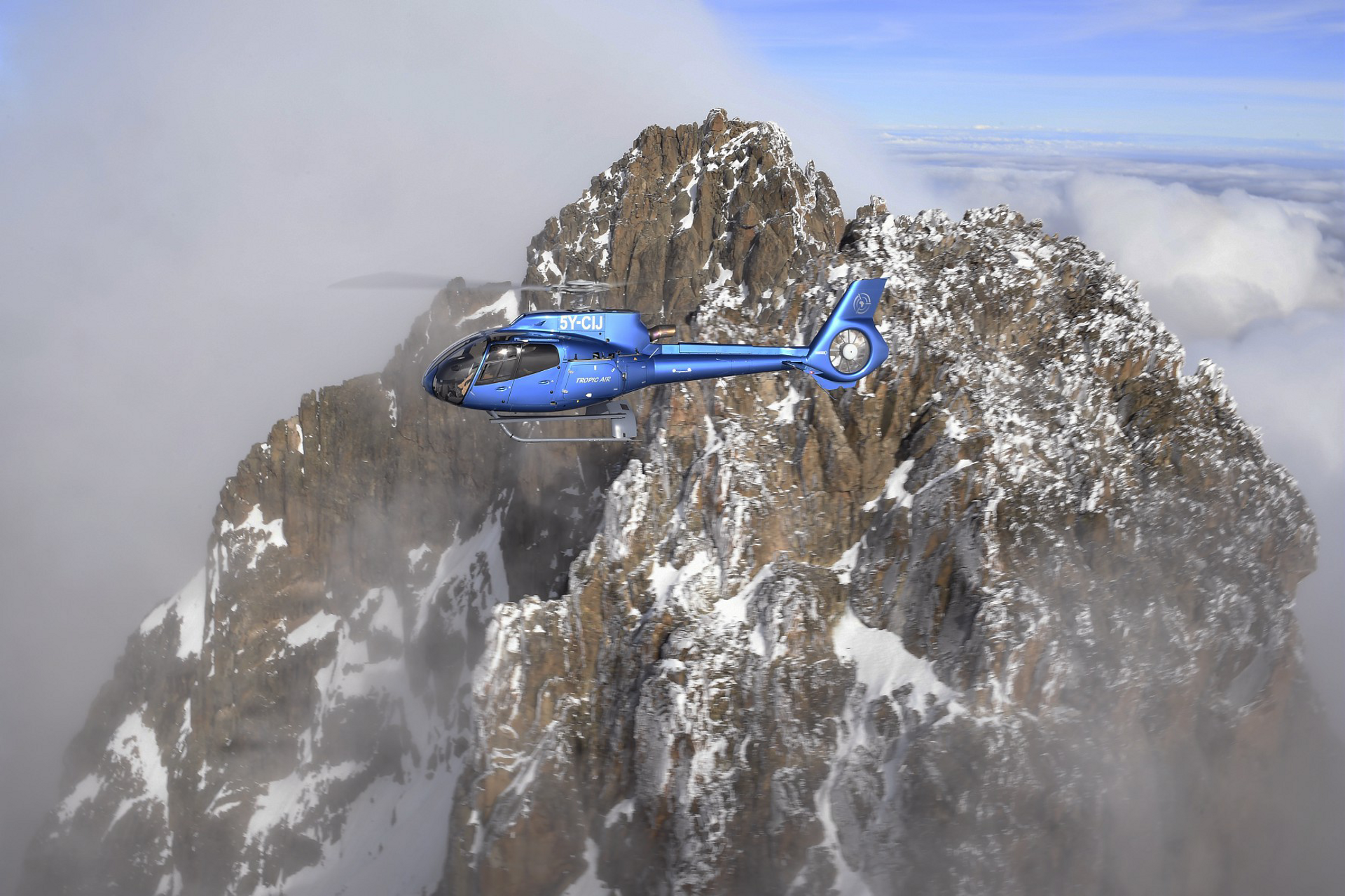 Mount Kenya at 5,199 metres presents no challenge to the H130.