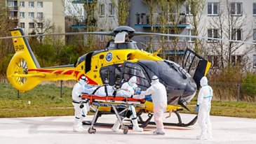 Poland's Lotnicze Pogotowie Ratunkowe (Polish Medical Air Rescue) transferring a Covid-19 patient